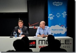 From R-L: John Stratton, executive vice president and chief marketing officer for Verizon Wireless, and Josh Silverman, Skype's CEO, announcing their strategic relationship to bring Skype to Verizon Wireless smartphones during a press conference at the 2010 Mobile World Congress in Barcelona, Spain earlier today.
